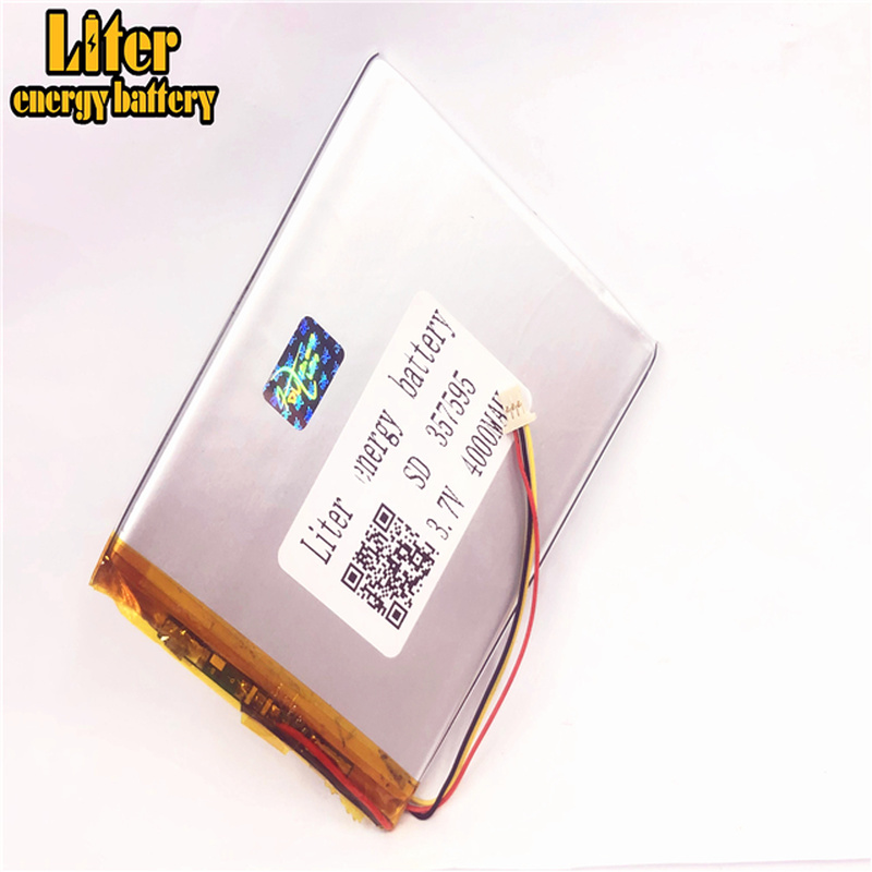 1.0MM 3pin connector 357595 <font><b>4000mah</b></font> <font><b>3.7V</b></font> li polymer rechargeable lithium polymer <font><b>battery</b></font> for tablet pc 7 inch image
