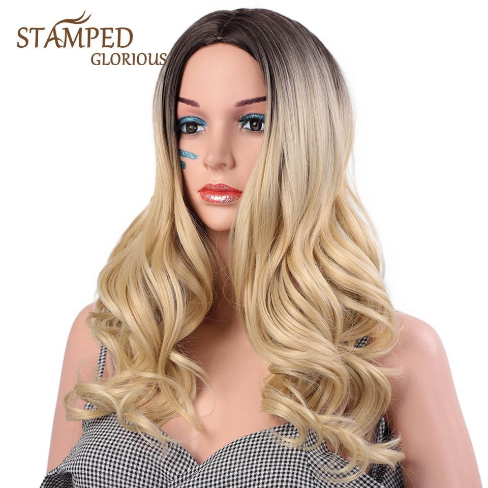 Stamped Glorious 24inches Wave Wig Ombre Black Blonde Wig Synthetic Wigs For Women High Temperature Fiber Average Size
