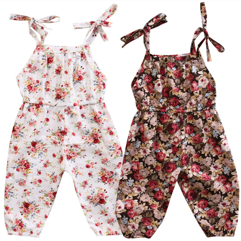 Newborn Toddler Infant Baby Girls Clothes Flower Print Romper Jumpsuit Sleeveless Sunsuit Clothes 0-2T