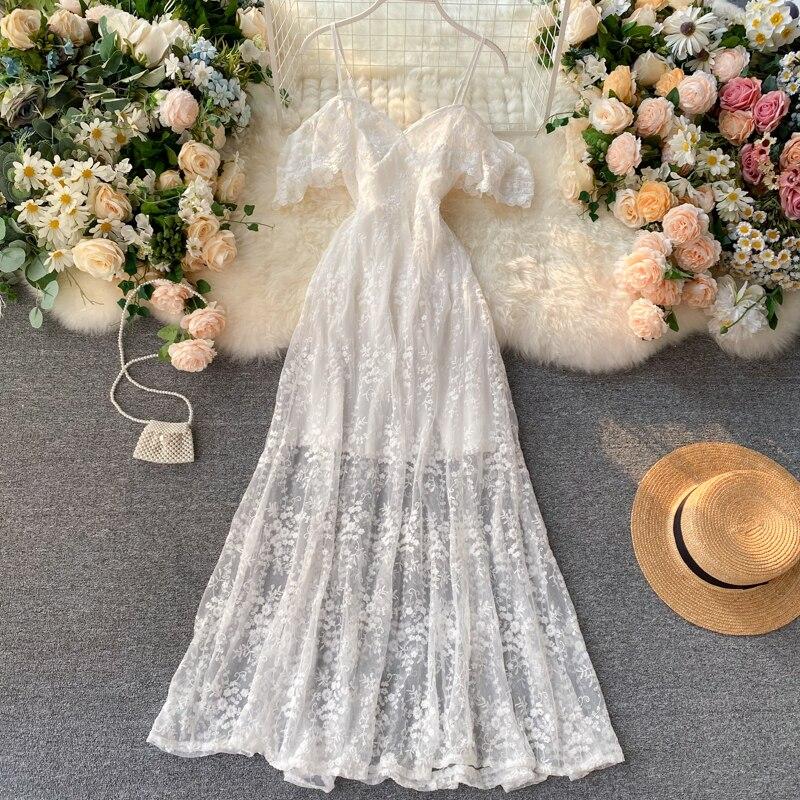 HISUMA 2020 Summer New Women Chic Strap V-neck Embroidery Ruffles Gauze Fairy Dress Female Sling Elegant Lace A-line Dresses