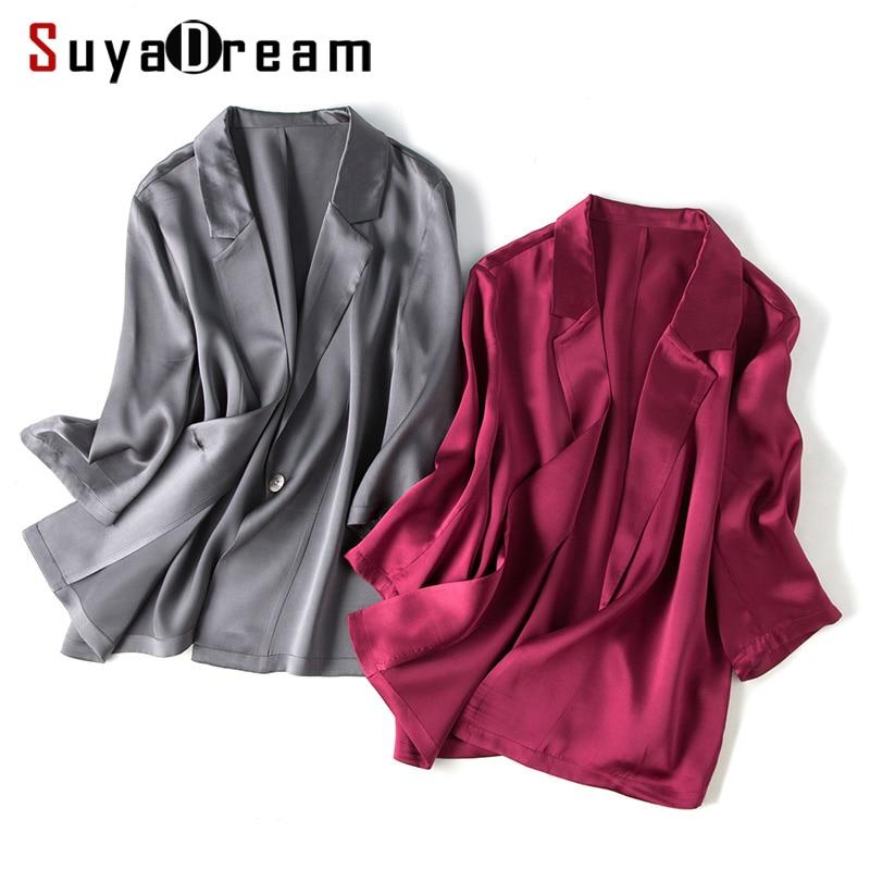 Women Silk Blazer 100%Silk Solid 3/4 Sleeved Single Button Office Lady Blazer 2019 NEW Fall Winter Out Wear