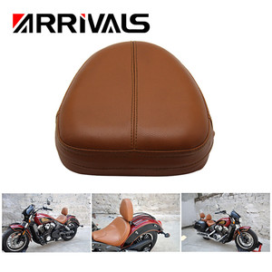 Brown Universal Motorcycle Pillion Rear Backrest PU Leather Sissy Bar Cushion Pad For Harley