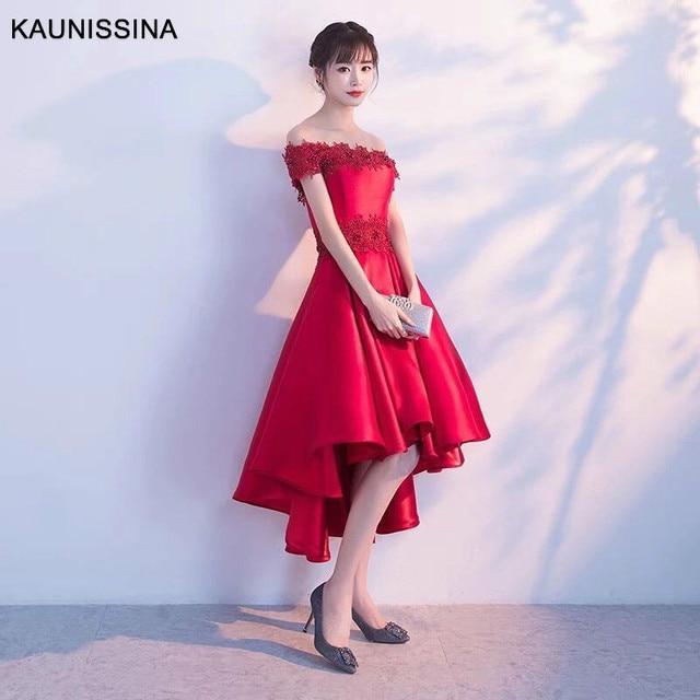 KAUNISSINA sukienki koktajlowe Party Vestidos kobiety Off ramię strona główna szata czerwona suknia ślubna suknie Homecoming