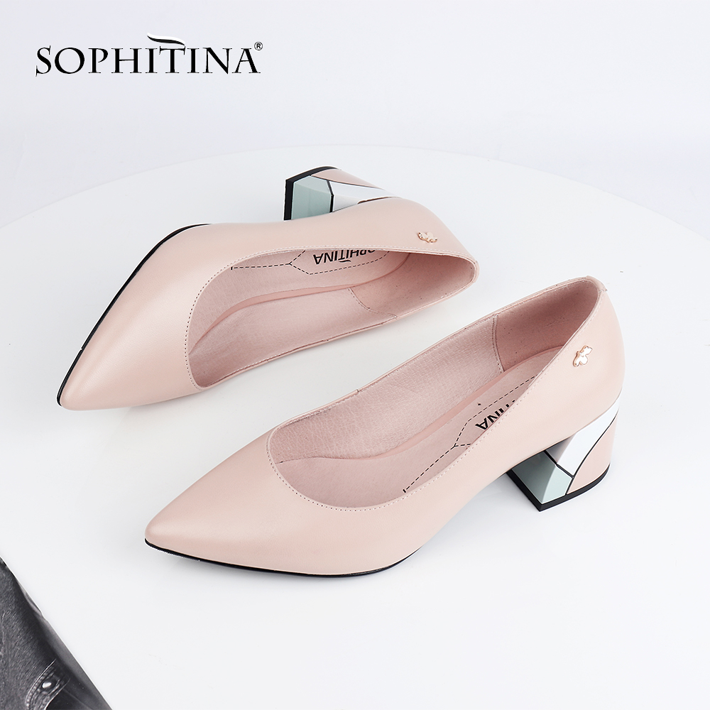 SOPHITINA  Mature Women' S Pumps Office Elegant High Quality Sheepskin Square Heel Comfortable Slip-On Shoes Shallow Pumps C567