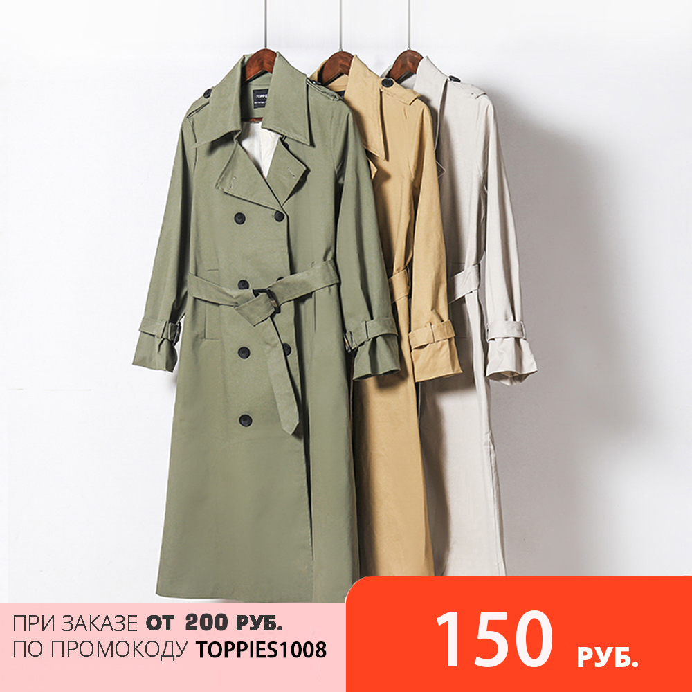 Toppies 2021 Spring Long Trench Coat Women Double Breasted Slim Trench Coat Female Outwear Fashion Windbreaker 1