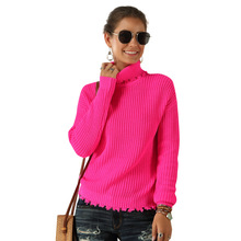 Autumn Women Turtleneck Ribbed Sweaters Long Sleeve Fluorescent Color Pullovers 2019 Spring Slim Solid Mujer Warm