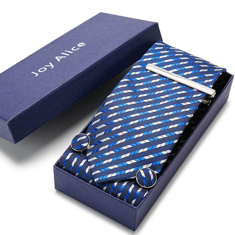 Classic Men Tie Set 7.5cm Handkerchief Cuffink Tie Clip Ties Set 100%Silk Fashion Accessories Wedding Party Classic Men Necktie