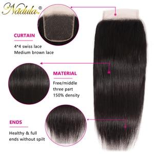 Image 2 - Nadulaヘアブラジルストレートヘア閉鎖10 20インチ無料/中部pu/スイスレース閉鎖ナチュラル色のremy毛織り