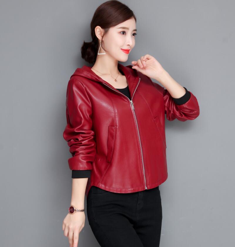 Plus Size Black Women's Leather Jacket 2019 New Spring Autumn Motorcycle Women's Leather Clothing Short Slim Leather Coat Women