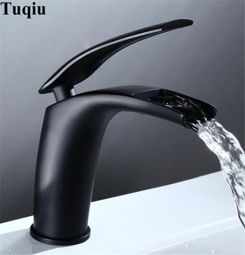 Image 4 - Bathroom Basin Faucet Black Baking Solid Brass Unique Design Sink Mixer Tap Hot & Cold Waterfall Basin Faucet Free Shipping-in Basin Faucets from Home Improvement