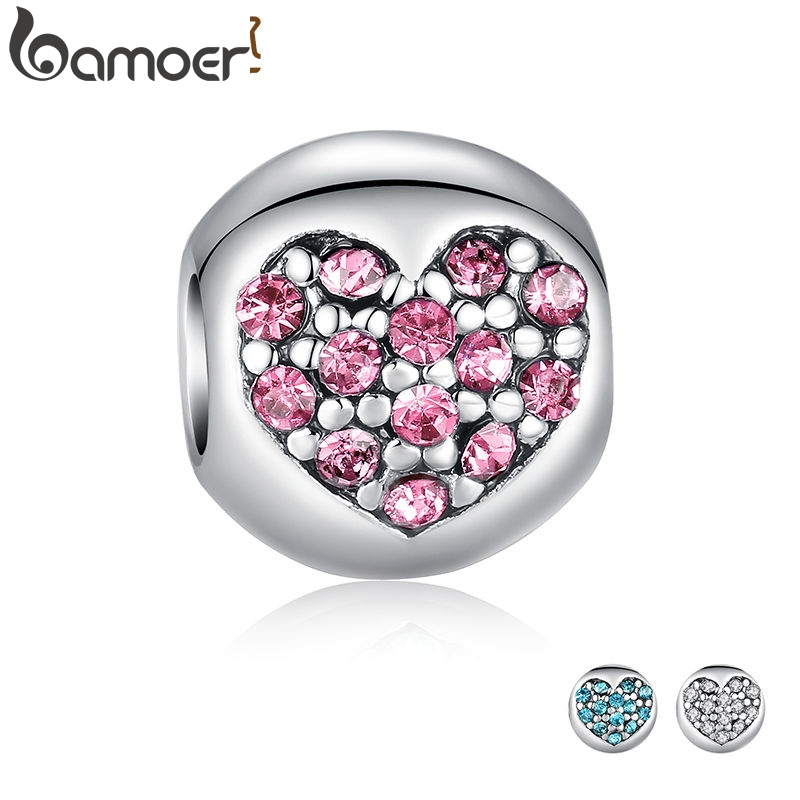 925 Silver Love Of My Life Heart Pink CZ Charm Fit  Bracelet Necklace Accessories Bead Jewelry Making PA5283