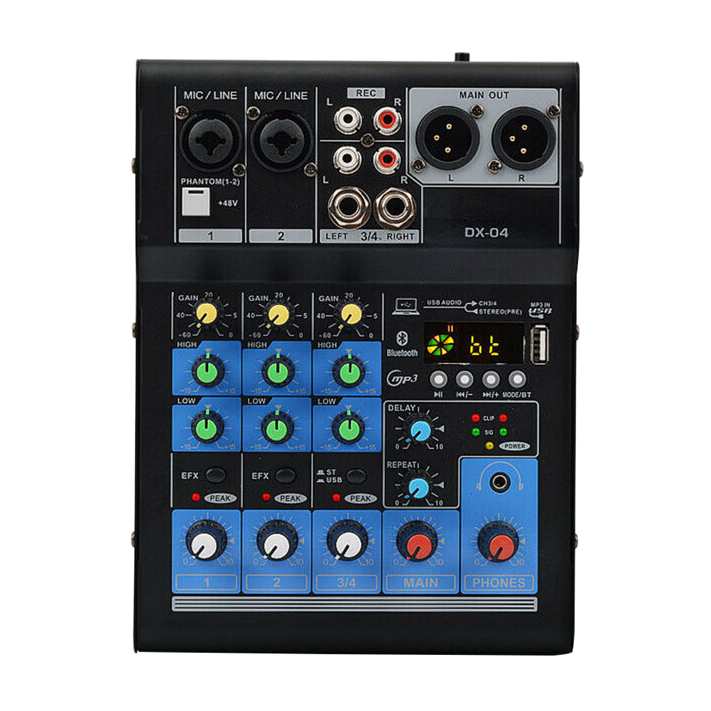 Bluetooth Record Home KTV 4 Channel Audio Mixer USB Portable Sound Card Small Mixing Console Professional DJ Karaoke Stereo|DJ Equipment| |  - title=