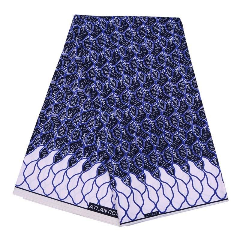 Dark Blue Fashion African Ankara Wax Fabric 100% Pure Polyester African Ankara Wax Fabric Soft African Wax Polyester Wax Fabric