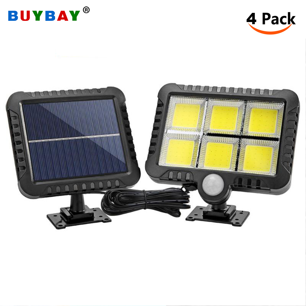 BUYBAY LED Solar Lights Motion Sensor Spotlight Outdoor IP65 Waterproof Solar Powered Wall Lamp For Garden Street Path Courtyard