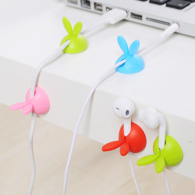 4Pcs/Box Cartoon Rabbit Shaped Winder Wrap Cord Cable Storage Wire Clip Organizer Desk Accessories Office Desk Set Supplies