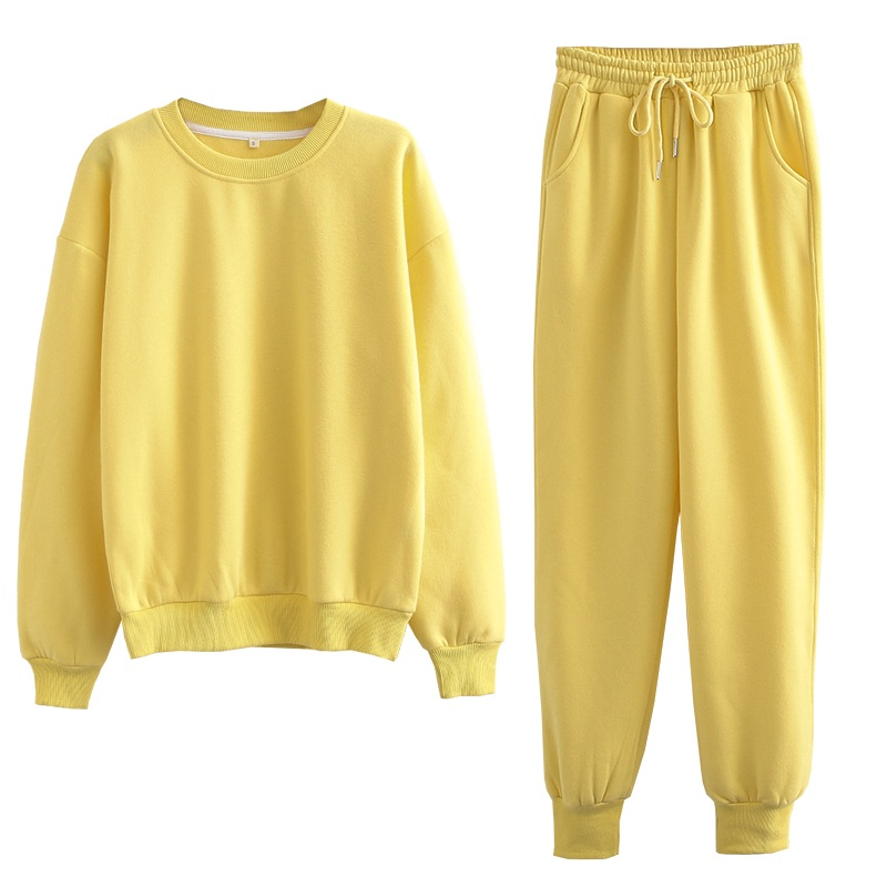 Tangada 2020 Autumn Winter Women warm yellow fleece 100% cotton suit 2 pieces sets o neck hoodies sweatshirt pants suits 6L24 9