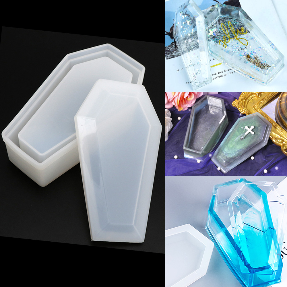 7.5X12.5CM Crystal Epoxy Mold Coffin Storage Box Mold Silicone Dark Mirror Storage Box Epoxy Resin Mould Crafts