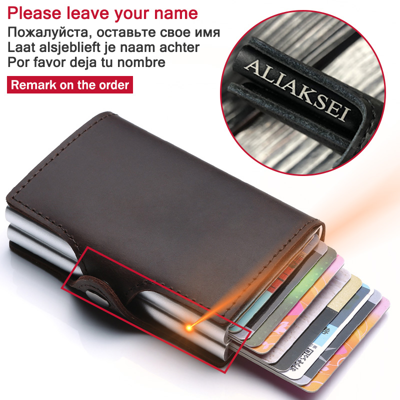 Engraving Name Men Credit Card Holder Double Layers RFID Men Card Wallet Business ID Card Holder Male Automatic Purse For Cards
