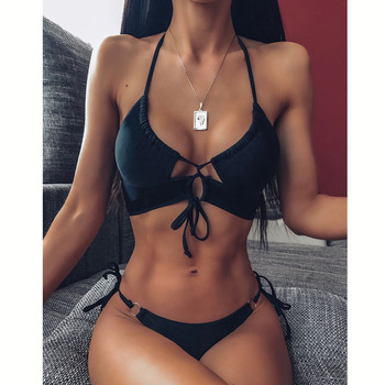 Sexy Bikini 2020 High Waist Swimsuit Women Swimwear Bathing String Bikini Set Hollow Out Swimsuit Female Swimming Suit For Women 8
