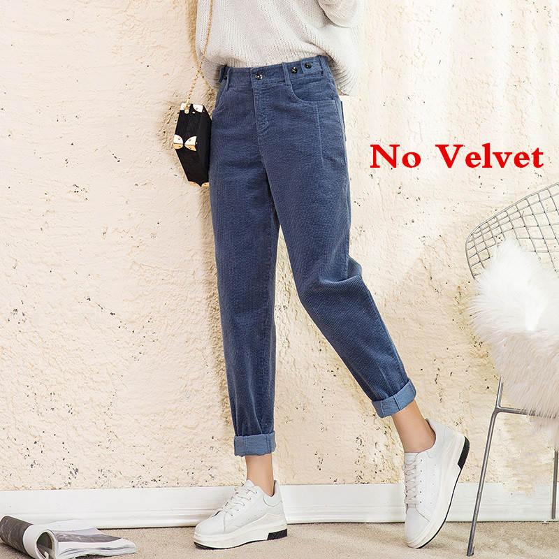 Autumn Winter High Waist Corduroy Harem Pants Women Plus Size Loose Black Pants Women Long Plus Velvet Trousers Sweatpants C5803 39