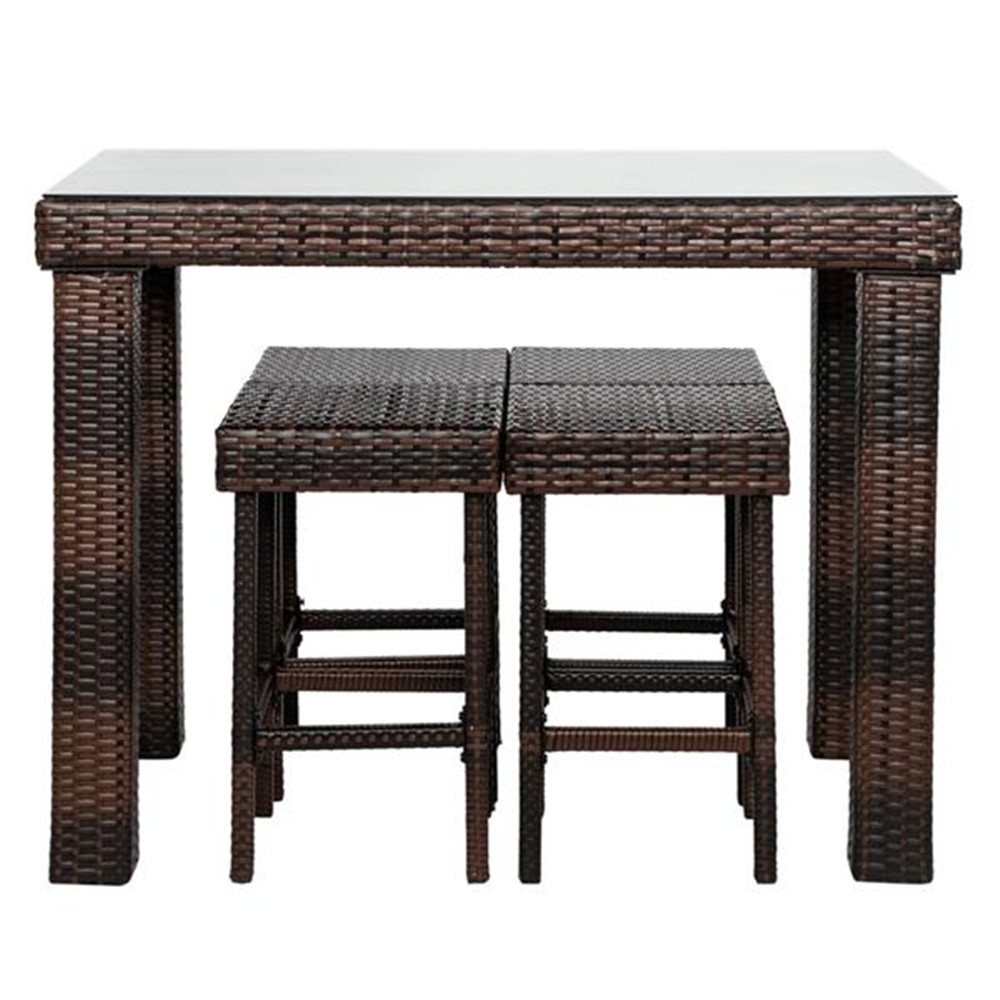 Bar Stool-Table And Chair Set Of 5 Brown Gradient Dinning Table Set  Bar Table And Chairs Set Home Furniture
