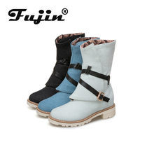 Fujin Fall Winter Korte Cilinder Vrouwen Laarzen Nieuwe Stijl Casual Lage Hak Denim Riem Gesp Grote Size Fashion Laarzen Kant rits(China)