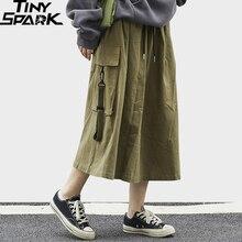 Harajuku Women Skirt Big-Side-Pockets A-Line Streetwear Cotton Fashion Calf-Length Hip-Hip