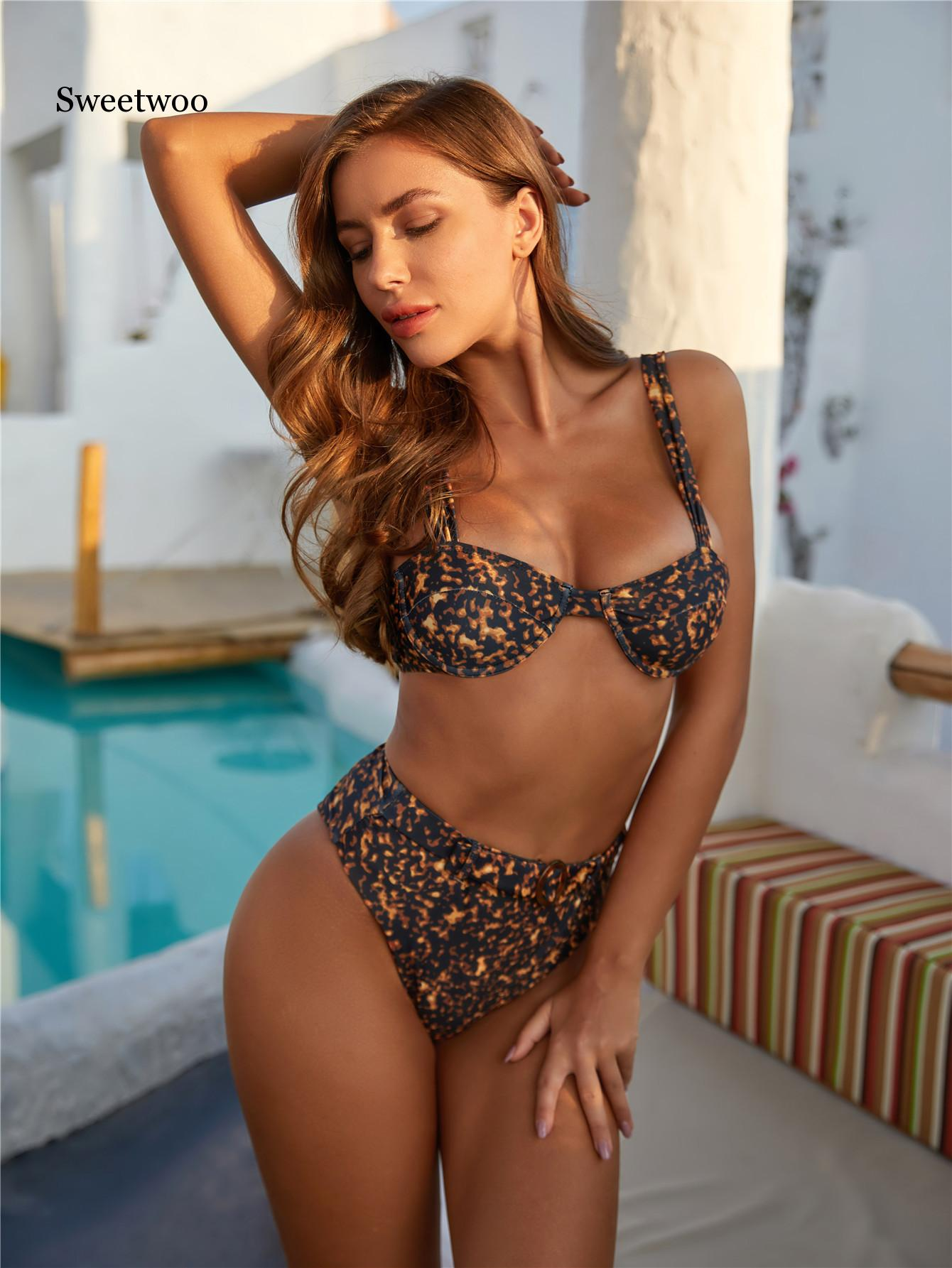 Sexy Bikinis Solid Push Up Bikini 2020 New Padded Bra Straps High Waist Swimsuit Female Swimwear Leopard Print Women Biquini