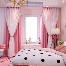 Korean Double Pink Princess Curtains For Living Room Hollow Stars Lace Curtain For Bedroom Shade Curtain Tulle Cloth Room Supply