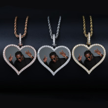 TOPGRILLZ Custom Made Photo Heart Medallions Necklace & Pendant With 4mm Tennis Chain AAA Cubic Zircon Mens Hip hop Jewelry