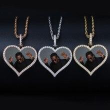 TOPGRILLZ Custom Made fotoğraf kalp madalyon kolye & kolye ile 4mm tenis zinciri AAA kübik zirkon erkek kalça hop takı