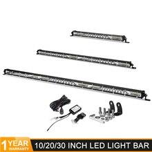 Barra de luz de led super fina, barra de luz de led para caminhão de carro 10 20 30 polegadas, linha única, offroad lâmpada de condução x 4 atv uaz suv, 12v 24v