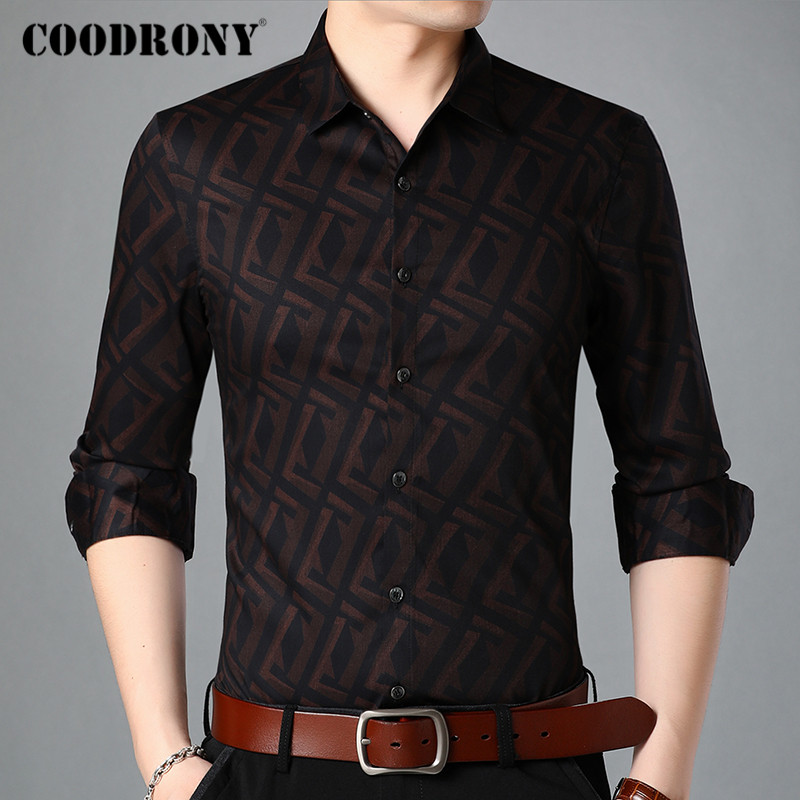 COODRONY Brand Long Sleeve Shirt Men Clothes Spring Autumn Fashion Plaid Pattern Shirts Business Casual Camisa Masculina C6011