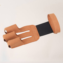 1PC Traditional Three Finger Glove Protective Gear for Archery Longbow Target (Brown)