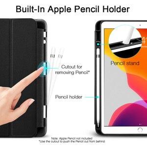 Image 2 - ESR étui pour iPad 7 10.2 2019 avec porte crayon couverture Ultra mince souple en polyuréthane à trois volets étui intelligent pour iPad 7th avec fente pour crayon