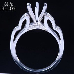 Image 3 - HELON 6mm Round Sterling Silver 925 White Gold Color 0.3CT Natural Diamonds Semi Mount Ring Engagement Classic Fine Jewelry Ring
