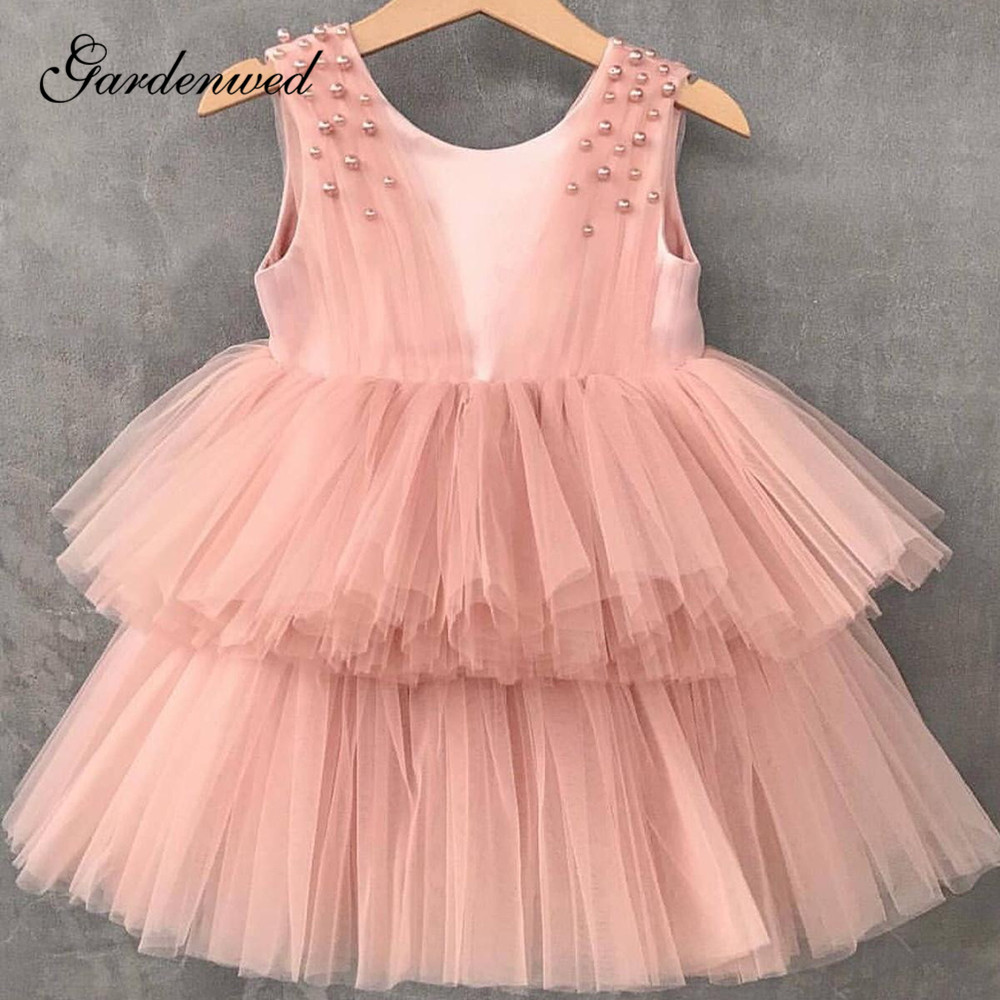 Blush O-Neck Pearls Short Flower Girl Dresses 2020 Simple Pleated Tiered Tulle A-Line Little Girl Wedding Party Dresses