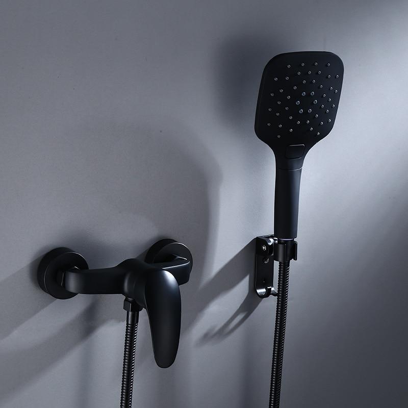 Bathroom Shower Faucet Black Brass Wall Mount Shower set Handheld Single Handle Luxury Bathroom Mixer Tap Bathroom Shower Faucet Black Brass Wall Mount Shower set Handheld Single Handle Luxury Bathroom Mixer Tap