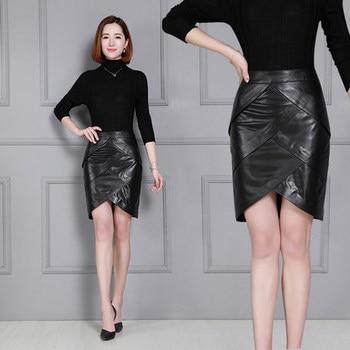 2020 Women New Real Genuine Sheep Leather Skirt K17 2020 new fashion real genuine sheep leather skirt g16