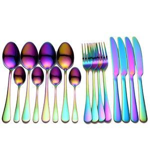 Tableware Spoon-Set Knife Dinnerware-Set Cutlery-Set Rainbow Stainless-Steel Kitchen