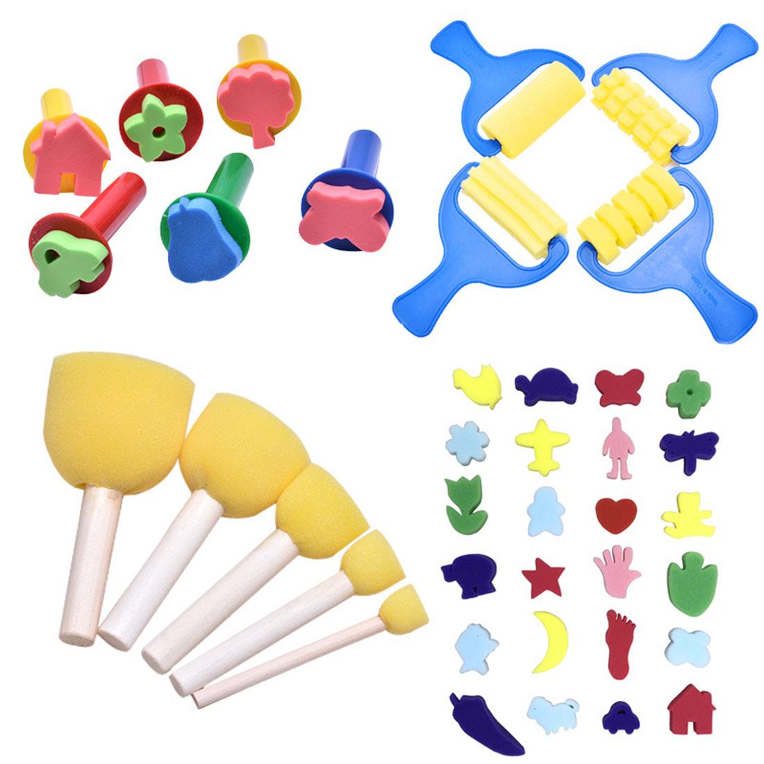 39pcs/set Kids Painting Tools Sponge Paint Roller Brushes DIY Children Early Learning Toys Kids Drawing Toys Art Graffiti Tool