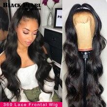 Черный жемчуг, бразильский объемный волнистый 360 кружевной передний парик, предварительно выщипанные парики для волос Huaman, 30-дюймовый круже...