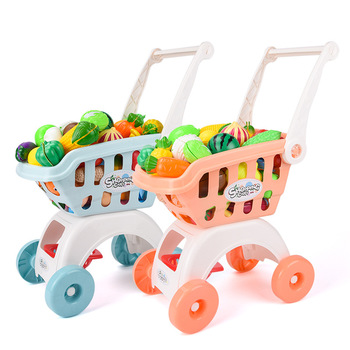 Kids Supermarket Shopping Groceries Cart Trolley Toys For Girls Kitchen Pretend Play House Simulation Cutting Fruits Cake Toys 28pcs set kids large supermarket shopping cart trolley push car toys basket simulation fruit food pretend play house girls toy