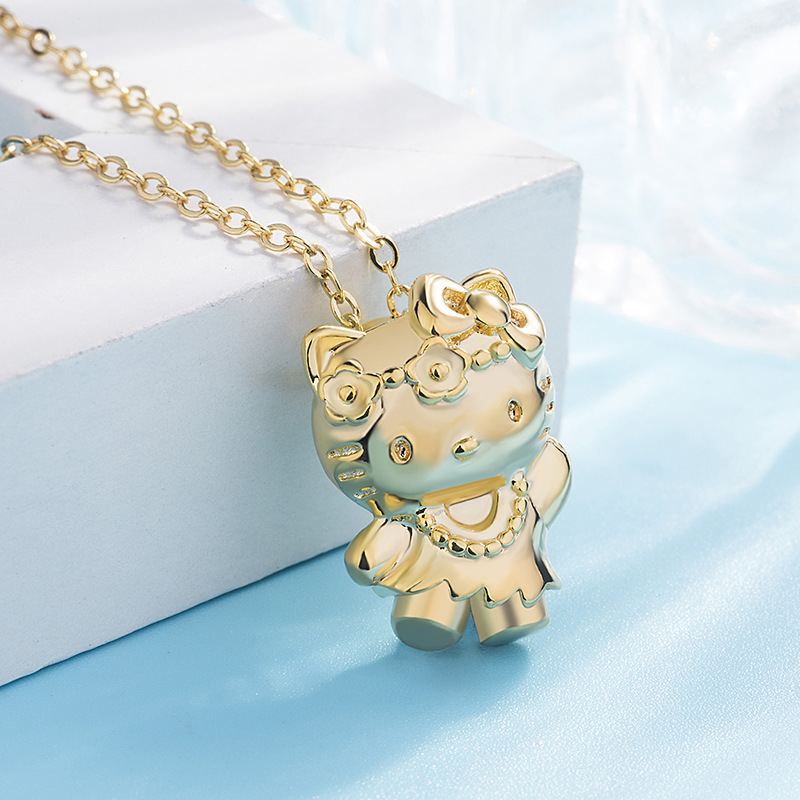 Korean Fashion Cartoon Kitty Pendant Necklace Female Hot Classic Wild Jewelry Valentine's Day Gifts on February 14