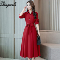Dingaozlz Autumn 2019 Office lady Dress New fashion clothing Slim Women dress Long sleeved Plus size Cotton and linen Dresses