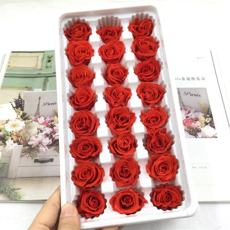 1 boîte de haute qualité préservé fleurs fleur immortelle Rose 2-3CM diamètre fête des mères cadeau vie éternelle fleur matériel boîte-cadeau