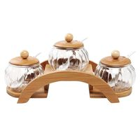 HLZS (set of 3) clear glass seasoning jar, creative spice box and 2 layer wooden display stand