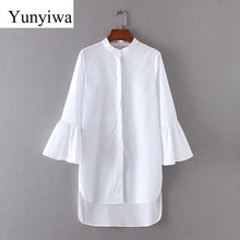 2017 Women Vintage Solid Color Flare Sleeve White Long Blouse Shirt