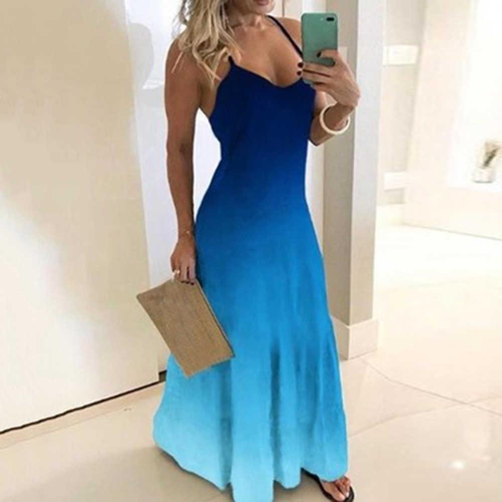 Dihope 빈티지 프린트 드레스 섹시한 스파게티 스트랩 V 넥 롱 드레스 여성 여름 빅 스윙 비치 드레스 파티 튜닉 플러스 사이즈
