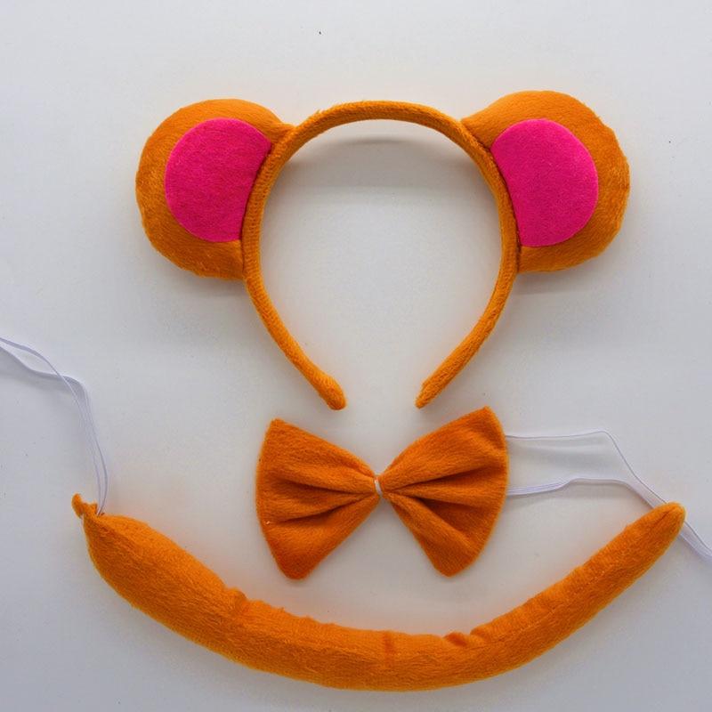 Детская повязка на голову с ушками животных для мальчиков и девочек; комплект с галстуком-бабочкой и хвостом для детей и взрослых; карнавальный костюм; вечерние аксессуары для волос - Цвет: 22